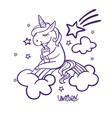 unicorn sitting on rainbow vector image