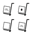 free shipping and delivery set trolley vector image
