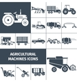 Agricultural Machinery Black White Icons Set vector image
