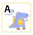 alphabet letter a for alligator for kids vector image