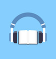 audiobook headphones over open textbook audio book vector image