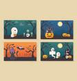 banners ghost cat pumpkin lantern halloween vector image