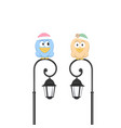 birds sitting on street lantern vector image