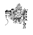 black and white sketch hand drawing of Rome Italy vector image