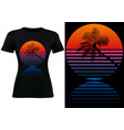black t-shirt design with tropical palm silhouette vector image