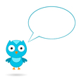 Blue bird with a speech bubble vector image
