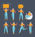 businesswoman character in different poses set vector image