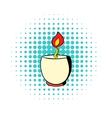 Candle in a candlestick icon comics style vector image vector image