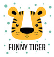 card with cartoon cute tiger isolated on white vector image vector image
