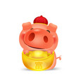 cartoon little pig pile with chinese money gold vector image