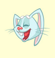 cartoon of a laughting rabbit head vector image vector image