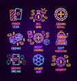 casino neon label set vector image vector image