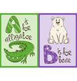 children alphabet with funny animals alligator vector image
