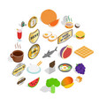 crockery icons set isometric style vector image vector image