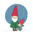 cute cartoon gnomes christmas elves grandfather vector image