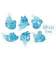cute ghost owls set in blue colors vector image