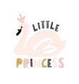 cute princess swan print pink swan with crown vector image