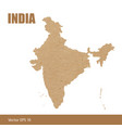 detailed map of india cut out of craft paper vector image