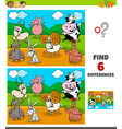 differences game with funny farm animal characters vector image vector image