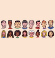 diverse faces people characters set human vector image