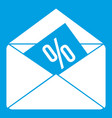 envelope with percentage icon white vector image vector image