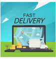 fast delivery concept on laptop background vector image