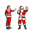 fat and thin santa claus sketch vector image vector image