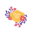 floral logo with frame original design creative vector image vector image