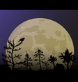 forest on the background of the yellow moon vector image