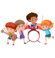 four kids playing music in band vector image vector image
