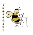 Funny office bee sketch for your design vector image vector image