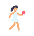 girl playing table tennis vector image