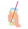 hand holding lemonade with ice cubes and straw vector image