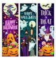 happy halloween party cartoon banners set vector image vector image