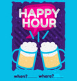 happy hour poster flyer design pink sky blue vector image vector image