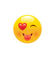heart emoji icon 3d wink face smile with tongue vector image