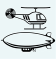 Helicopter and dirigible vector image