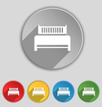 Hotel bed icon sign Symbol on five flat buttons vector image