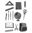 icons set of school education supplies vector image vector image