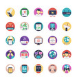 internet flat icons set vector image vector image
