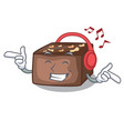listening music homemade sweet cake with almonds vector image