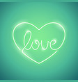 love neon sign green vector image vector image