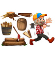 Lumber jack and wood vector image vector image