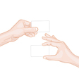 Man hands holding a blank cards vector image