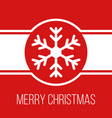 merry christmas red greeting card with snowflake vector image vector image