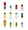 modern vehicle transport top view icons set vector image vector image