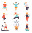 obesity people wearing sports uniform doing vector image vector image