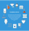 plumbing services template in a flat style vector image vector image