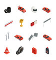 racing isometric icons set vector image vector image