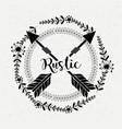 rustic branches around of arrows vector image